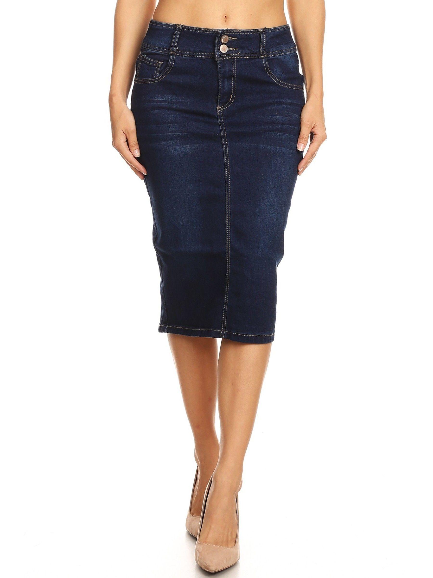Fashion2Love Womens Juniors Mid Waist Below Knee Length Denim Skirt in a Pencil Silhouette