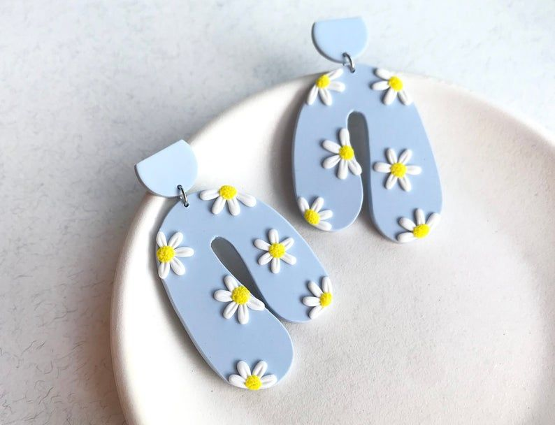 Photo of MIA in blue // Daisy Polymer Clay Earrings / Dangle Handmade Earrings / Statement Geometric Earrings / DELIVERY to the USA is available