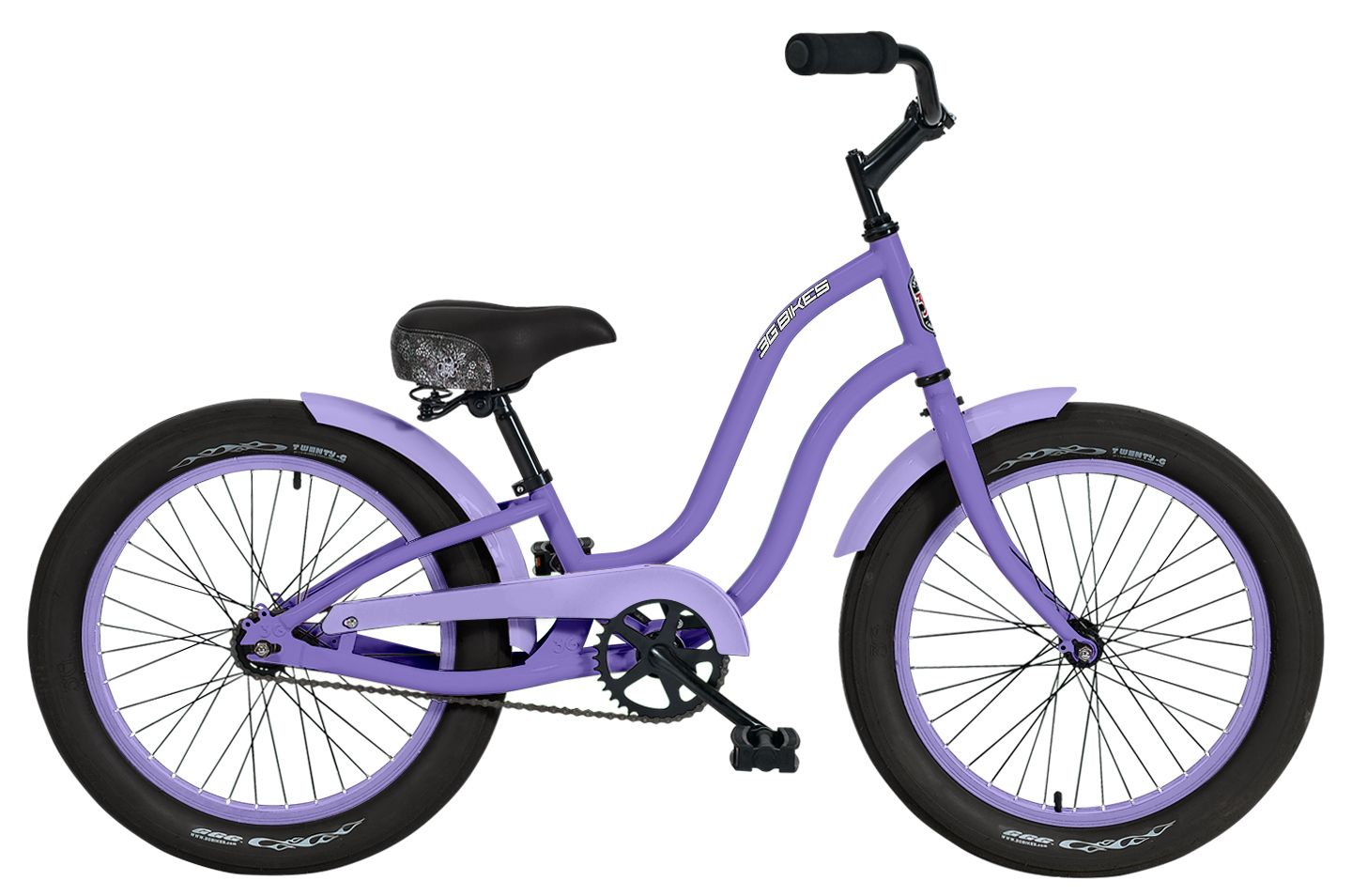 3g Bikes Candy 20 S Beach Bicycle In Purple With Soft Rims And Fenders