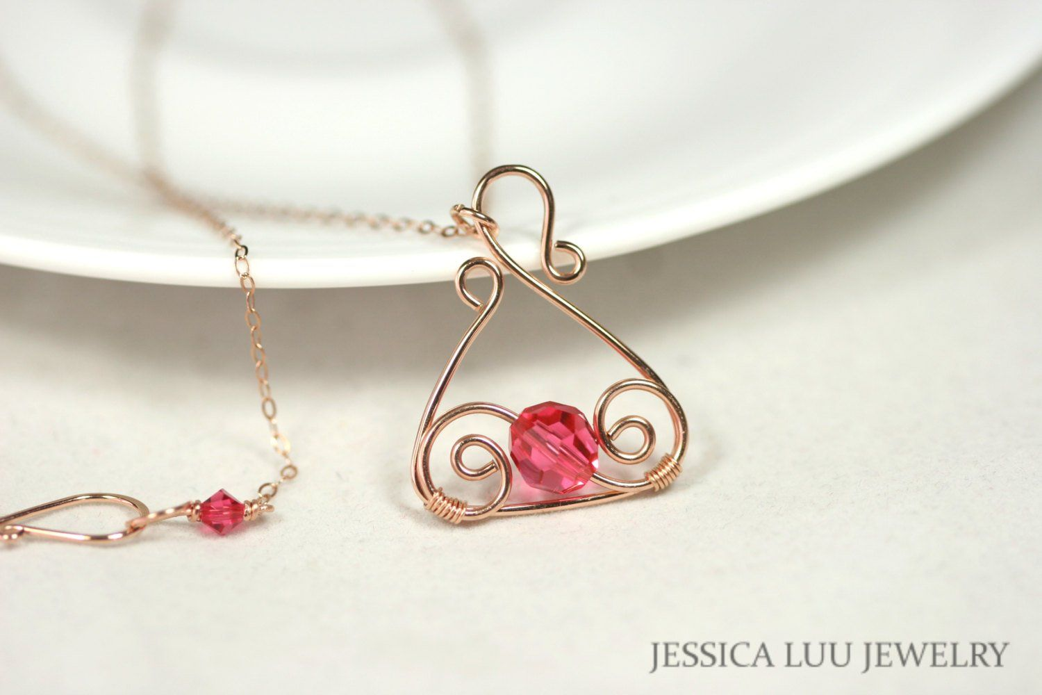Wire wrapped pink crystal Necklace /& Earring Set!