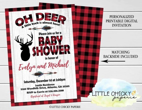 Flannel Plaid Deer Baby Shower Invitation for a Boy Baby Shower, Digital Invitation, Printable