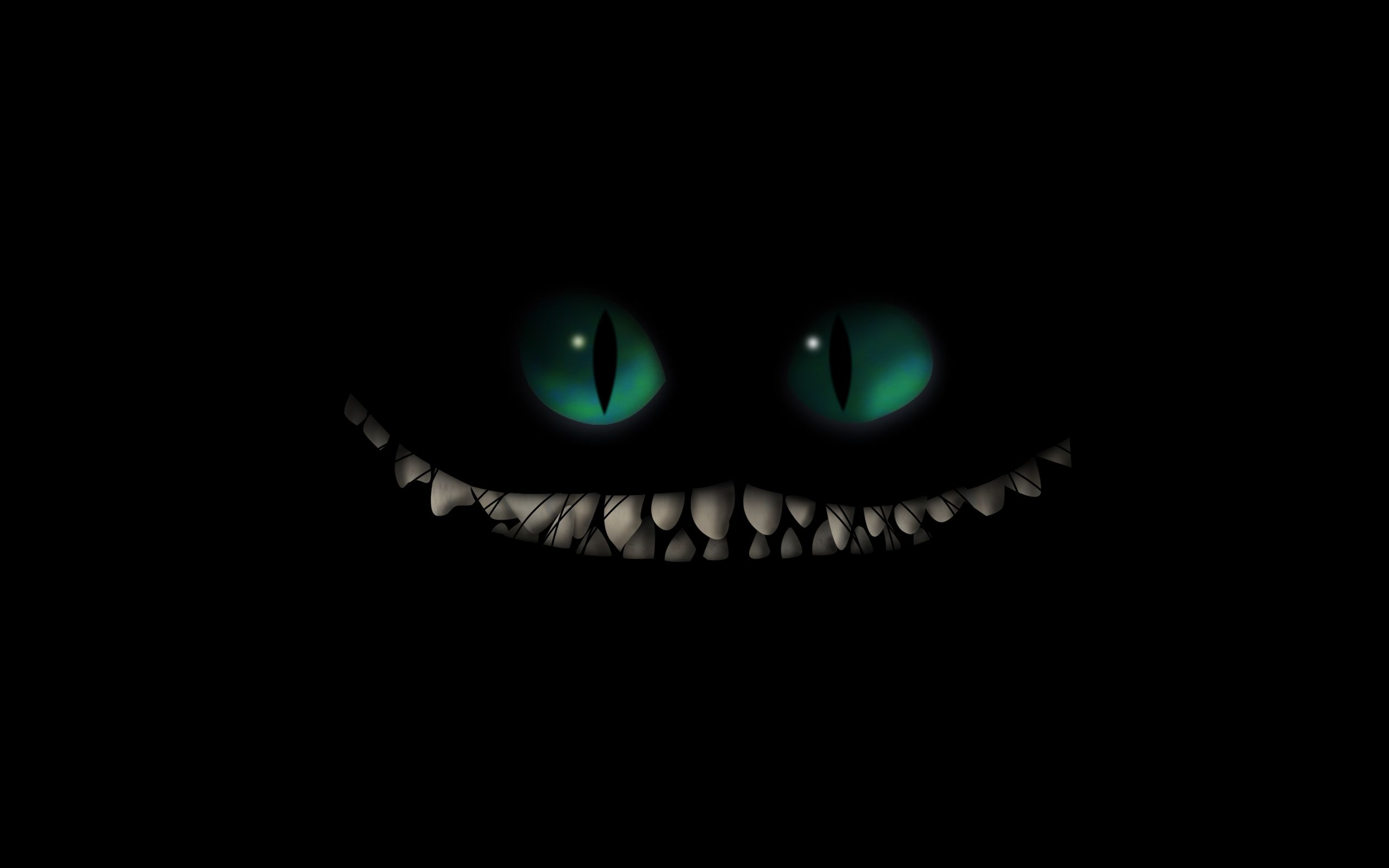 Download Anime Picture 2560x1600 0 17mb With Alice In Wonderland Cheshire Cat Highres Widescreen Green Ey Scary Wallpaper Cheshire Cat Wallpaper Eyes Wallpaper