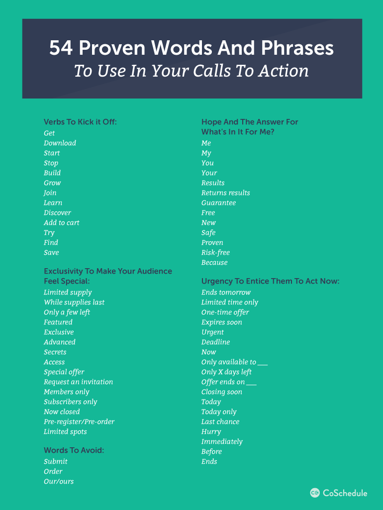 How To Write A Call To Action With 54 Words  6 Examples  Marketing  Call to action Marketing