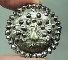 SILVERED BRASS PICTURE BUTTON ~  PEACOCK  W/ CUT STEEL BORDER    METAL