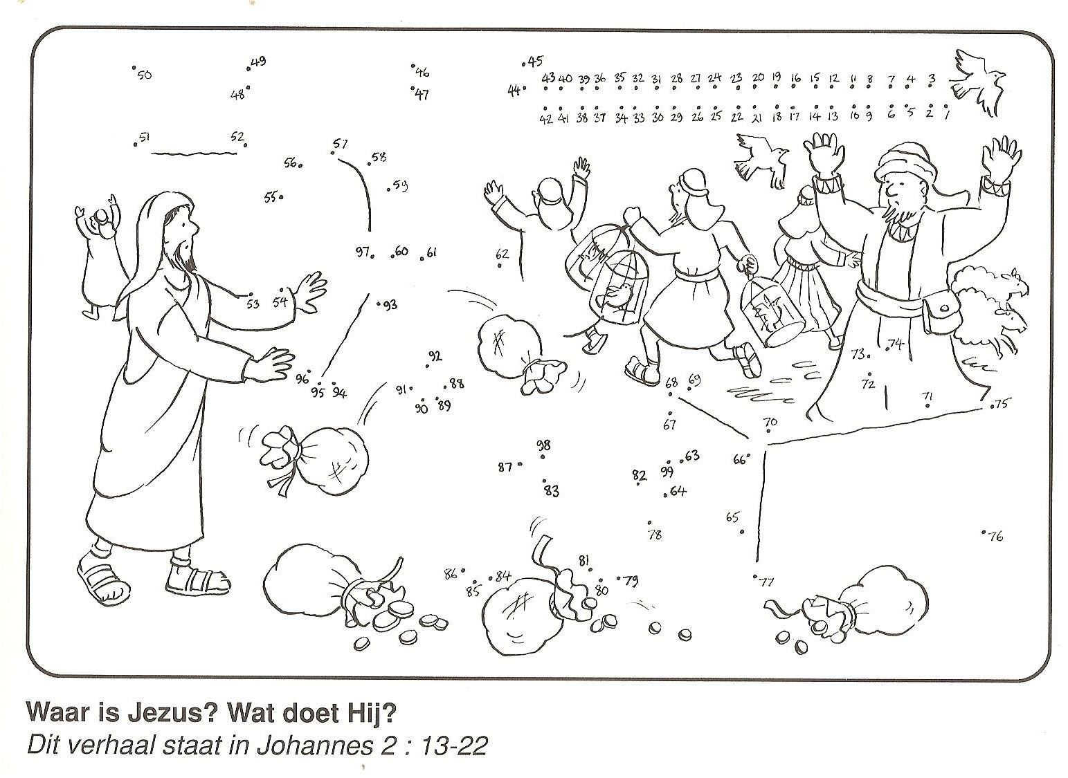Jesus Cleansing Temple Coloring Page Connect The Dots