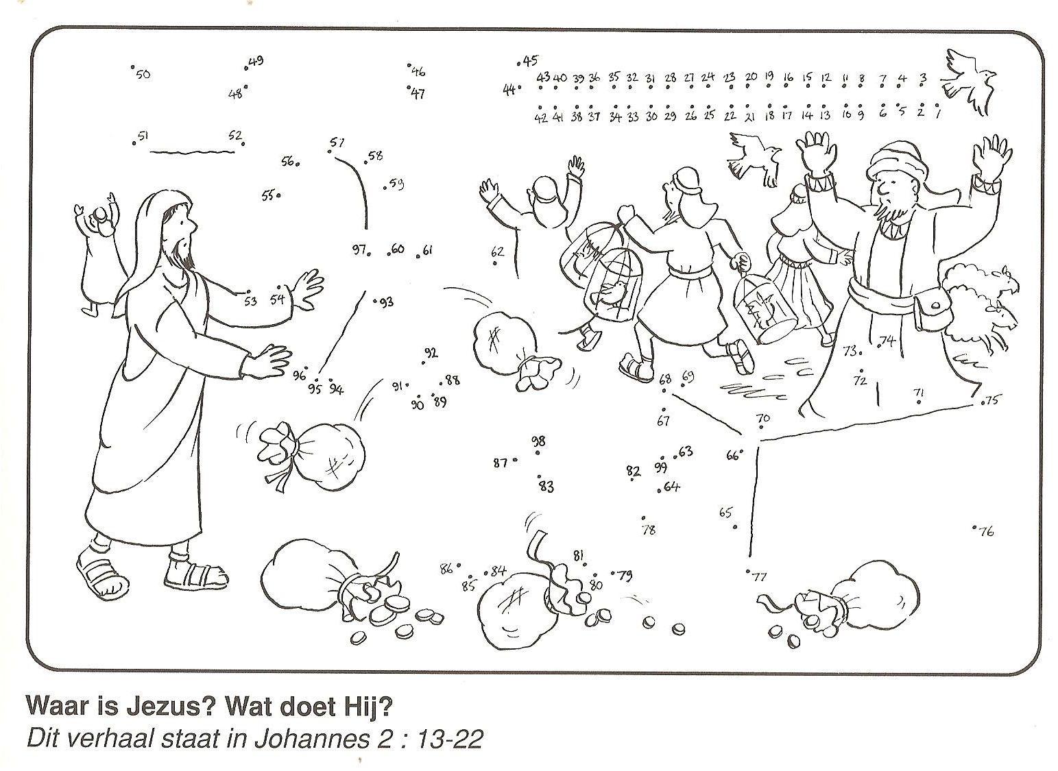 Johannes 2 jezus in de tempel jesus pinterest for Jesus and the money changers coloring page