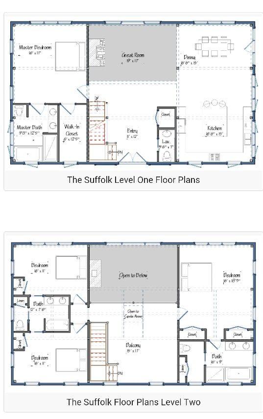 2 Story Barndominium Plan Pole Barn House Plans Farmhouse