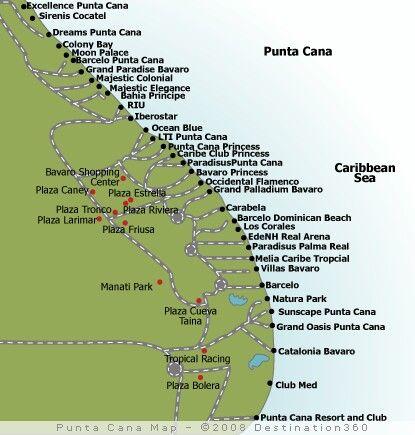 Punta Cana Dominican Republic Resort Map www.romanticplanet.ca