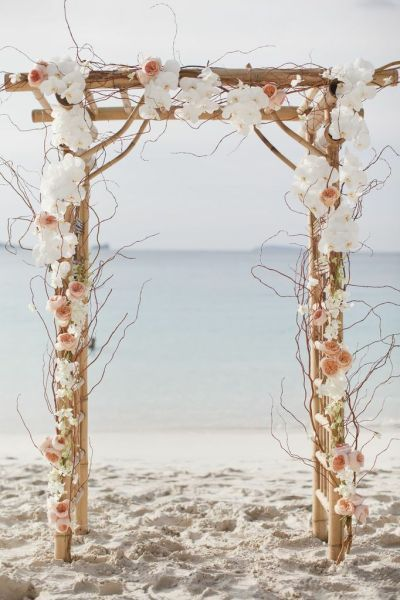 White Flowers Wedding Arch For Beach Weddding