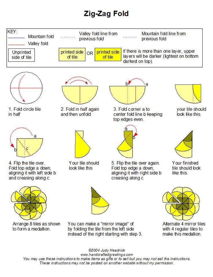 zigzag with circles teabag folding instructions - Google Search