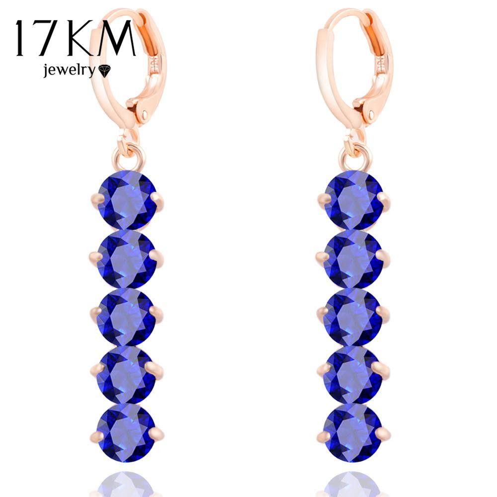17 KM Brand Design 6 Colori di Cristallo Zircone Orecchini Lunghi Per Le Donne di Colore Argento Regalo Di Natale Accessori Dei Monili brincos
