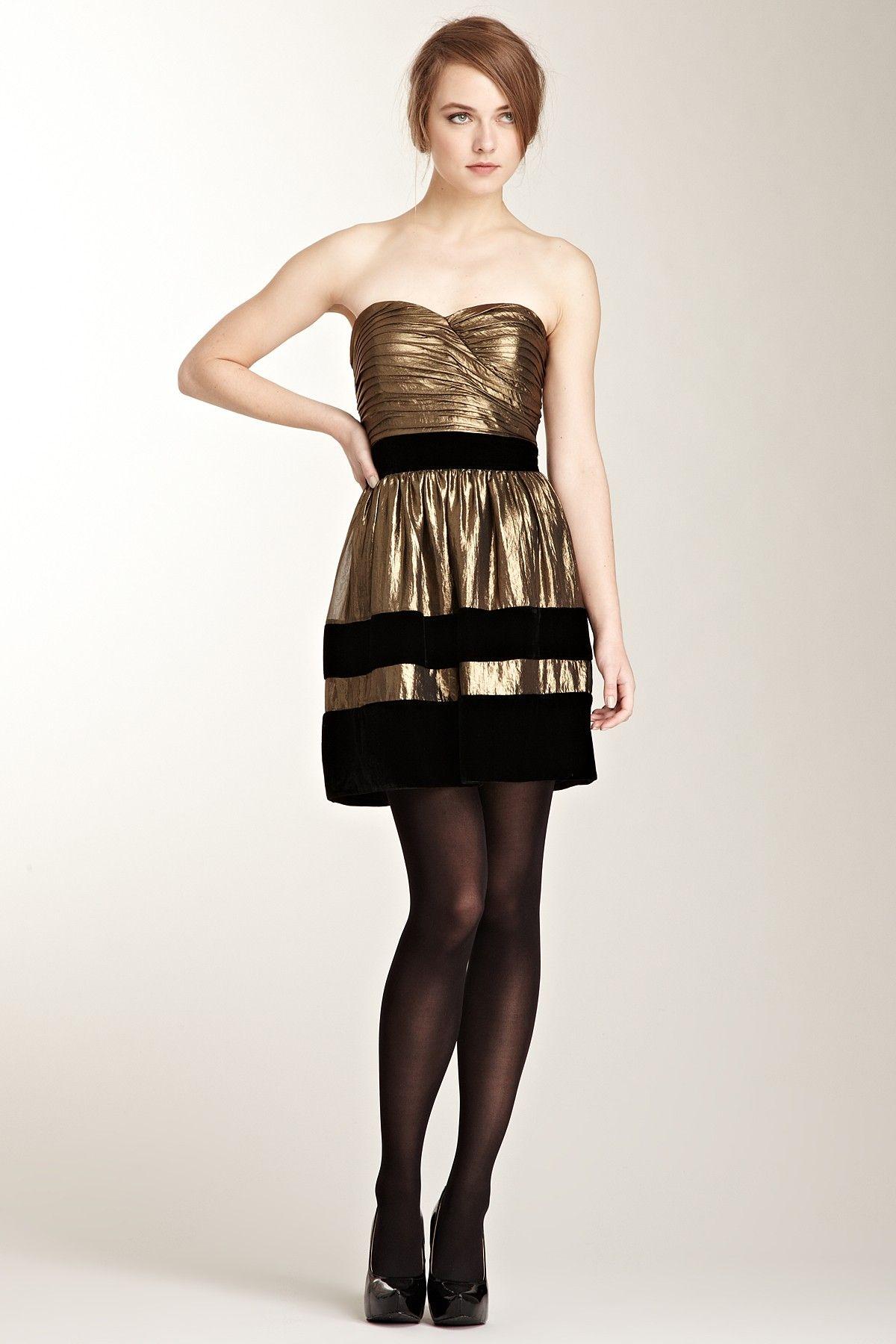 Velvet Trim Metallic Strapless Dress Evening dress