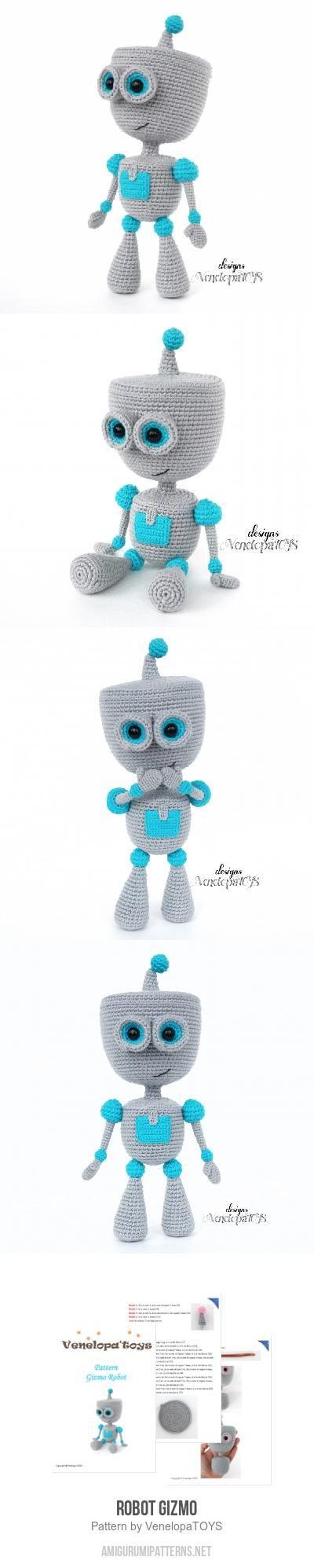 Robot Gizmo amigurumi pattern #instructionstodollpatterns