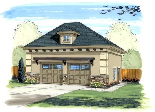 26 X 32 X 10 2 Car Garage With Hip Roof At Menards Hip Roof House Roof Garage Plans