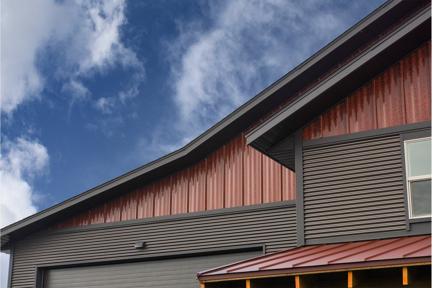 Brimstone Ultra Batten Gable On Store Front Metal Wall Panel Pole Barn House Plans Batten