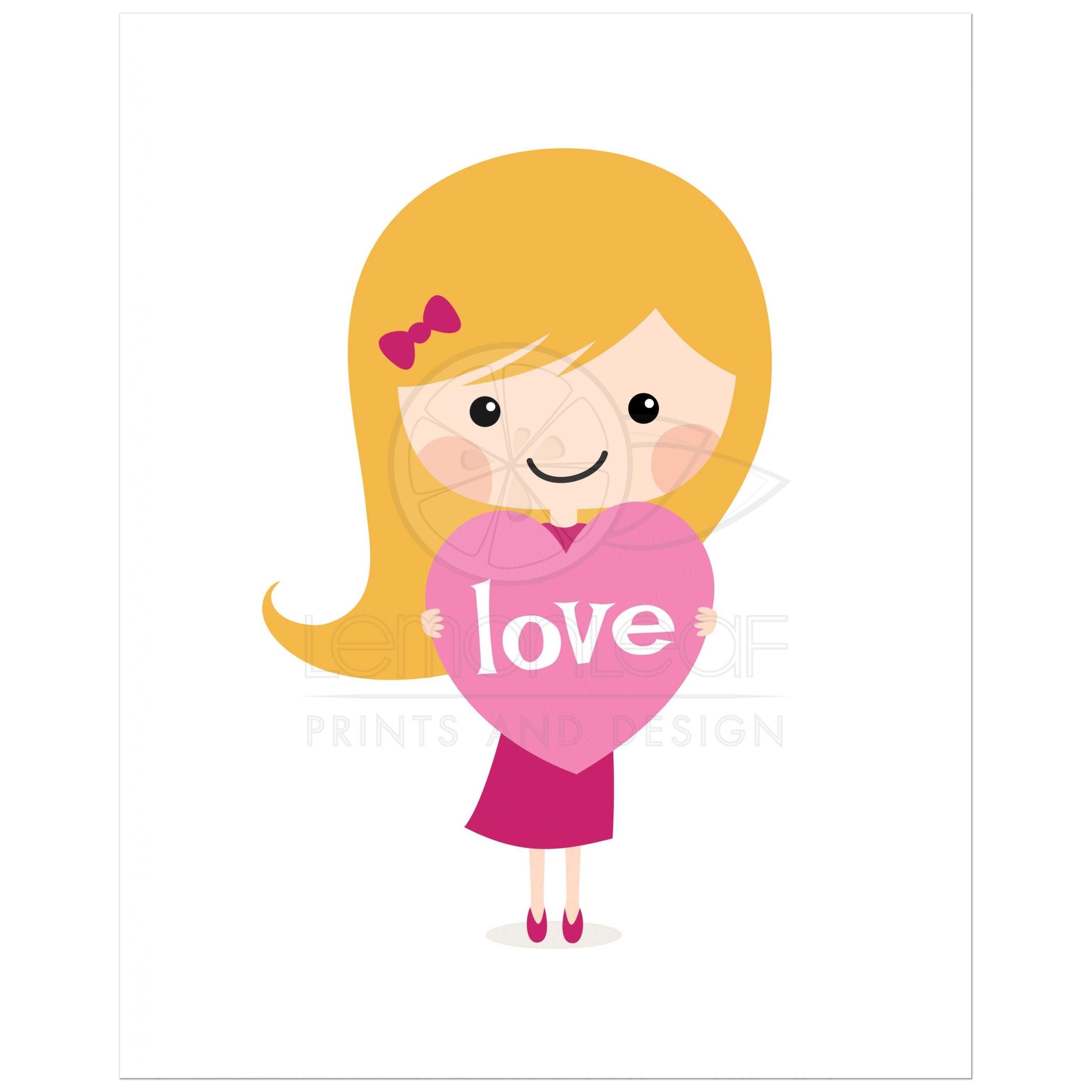 Blond Girl With Love Heart Cute Nursery Wall Art Print For