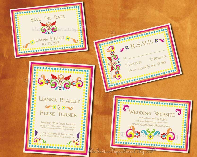 Boho indian wedding invitation set printable pdf print order boho indian wedding invitation set printable pdf print order rustic rangoli destination asian srilankan thai stopboris Gallery