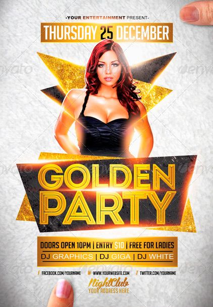 Golden White Party Flyer Template  Flyer Template