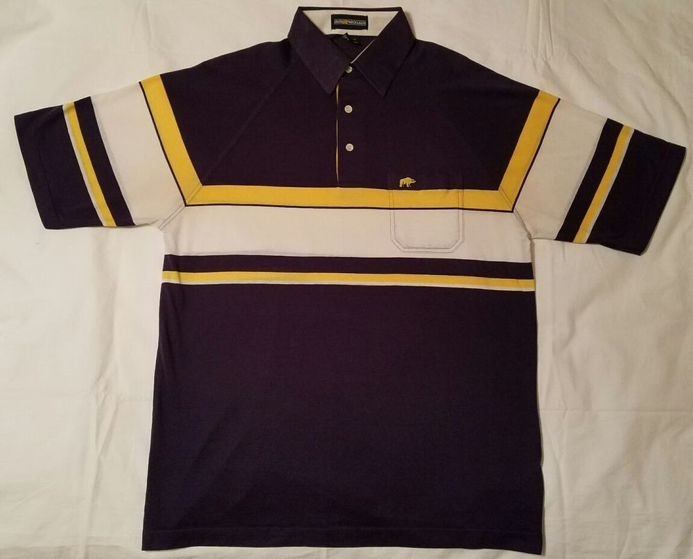 9acabc83 VINTAGE Mens JACK NICKLAUS GOLDEN BEAR Polo Golf Shirt STRIPED L 80s 90s  Purple | Clothing, Shoes & Accessories, Men's Clothing, Casual Shirts |  eBay!