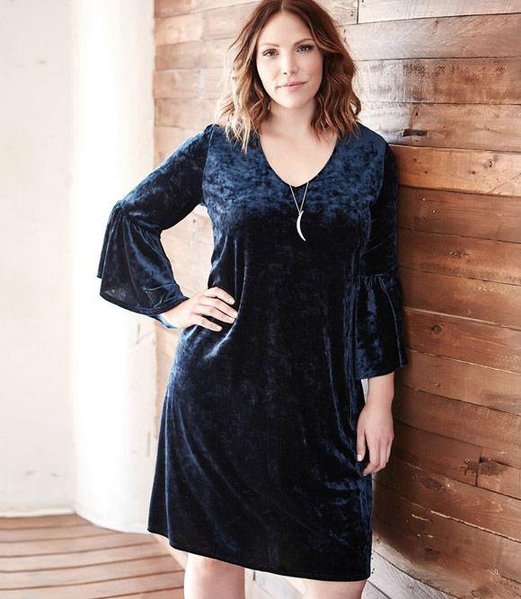 09a484c61cee Karen Kane Plus Size Velvet Bell Sleeve Dress, 1X, 2X, 3X, 0X ...