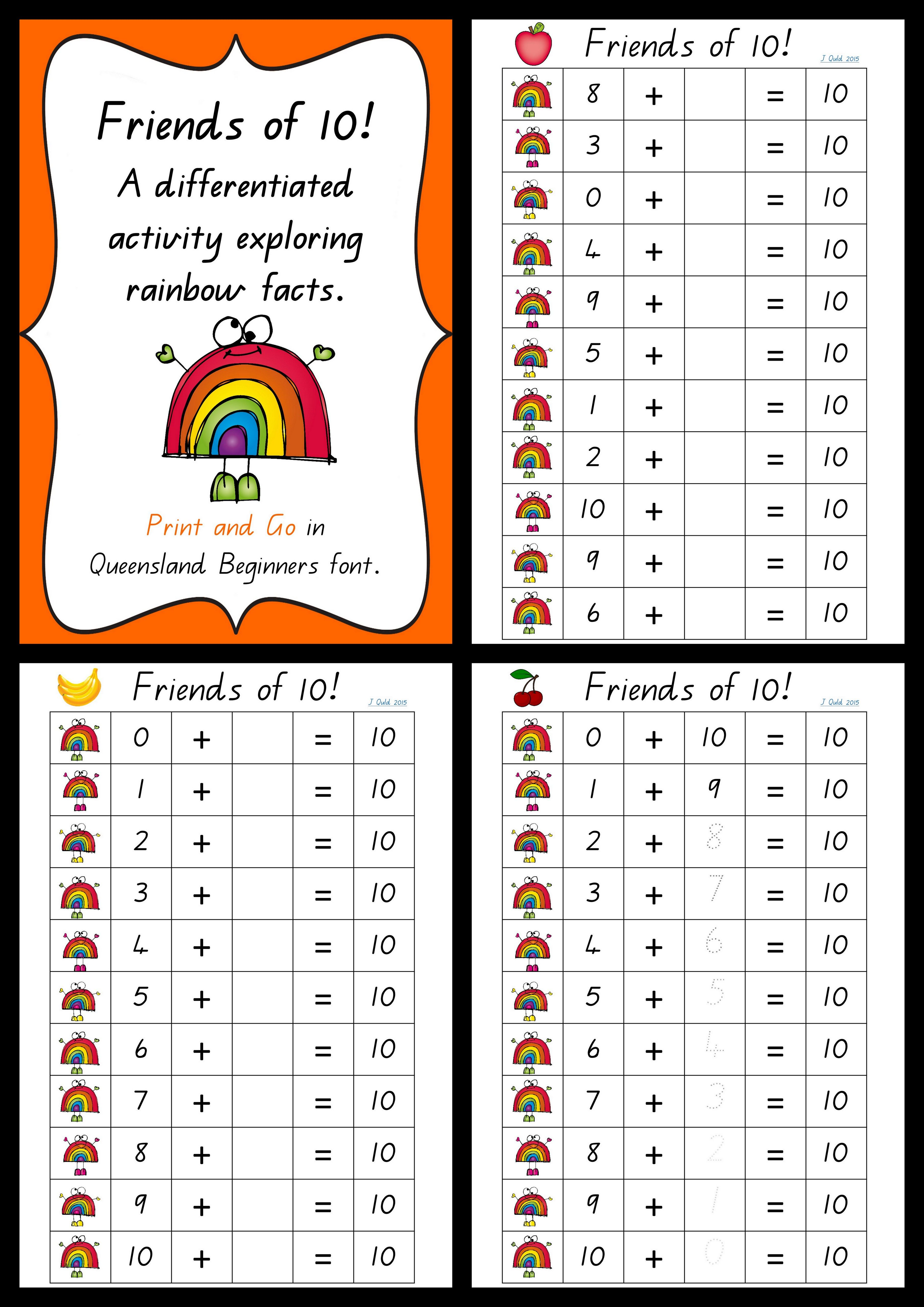 Friends Of 10 A Differentiated Set Of Activities Exploring Rainbow Facts Great For Us Rainbow Facts Kindergarten Math Addition Kindergarten Math Activities [ 5120 x 3621 Pixel ]