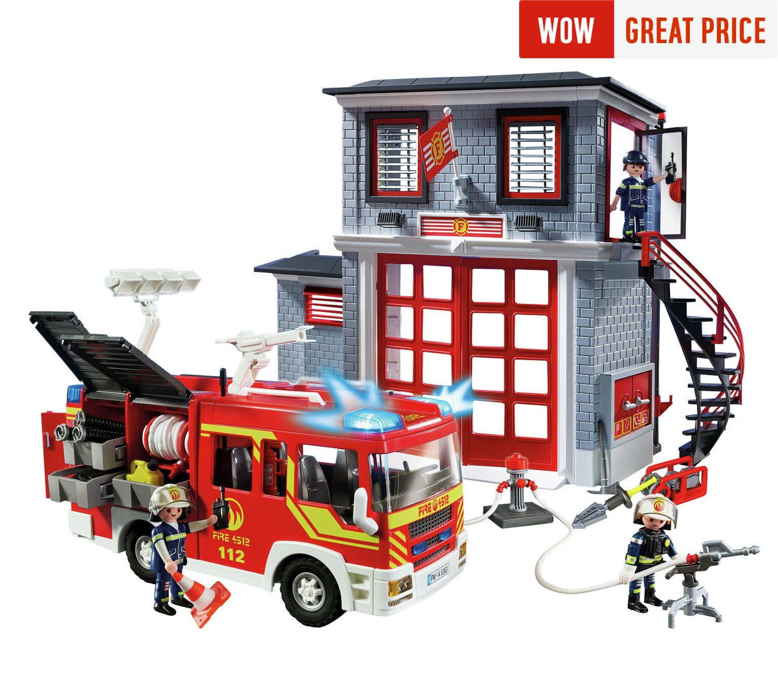 Playmobil 9052 City Action Fire Station Super Set At Argos Co Uk