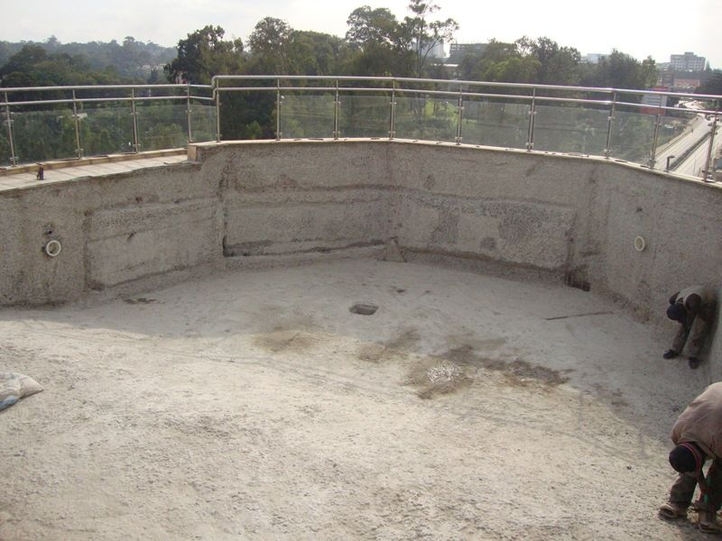 Penetron Integral Capillary Waterproofing System  Penetron Slurry Applied  To A Suspended Swimming Pool Concrete