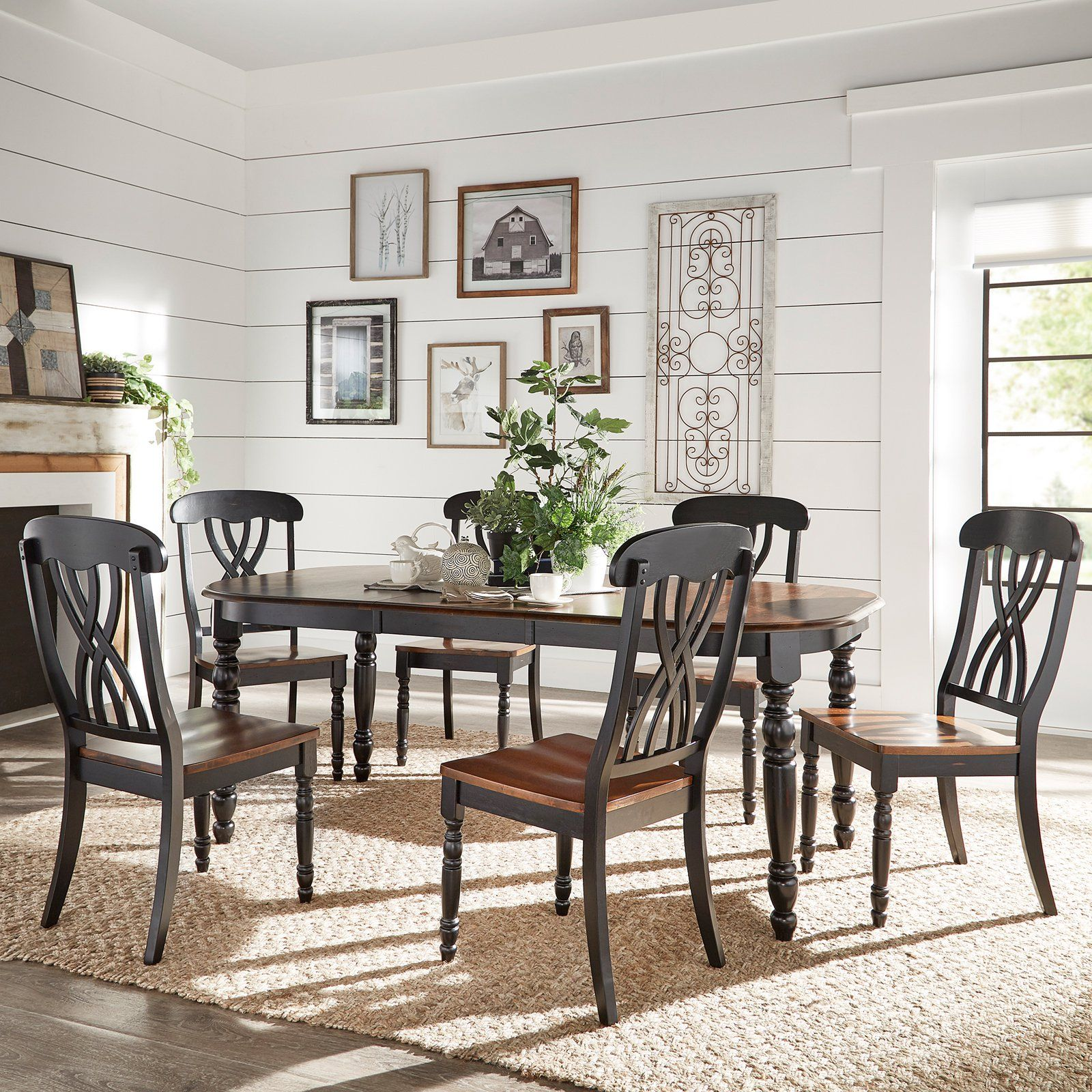 Weston Home Two Tone 7 Piece Dining Set Dining Furniture Sets