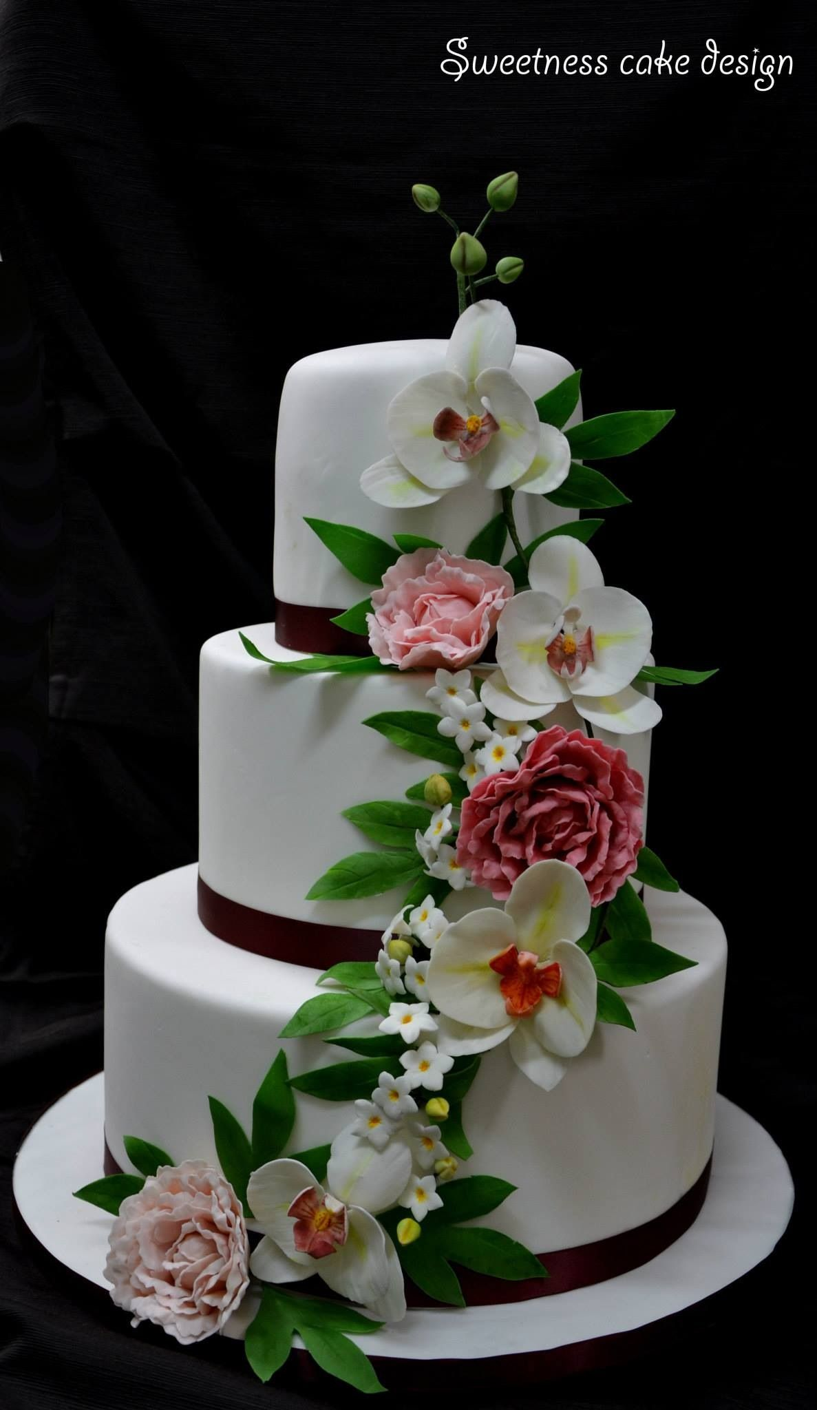 Peonies and orchids wedding cake wedding pinterest orchid