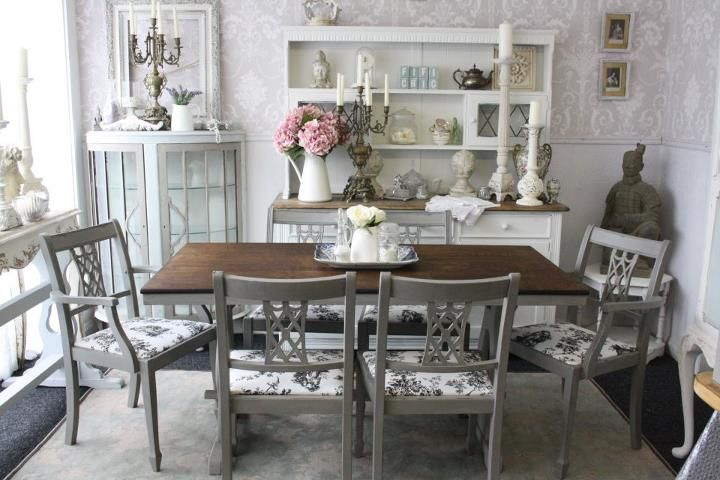 Annie sloan `French Linen` and a black and white toile fabric. www ...