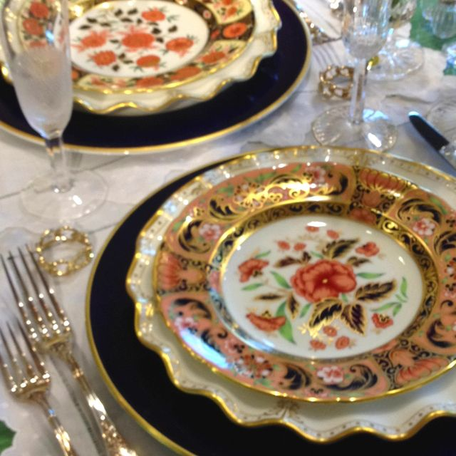 Table For Two Please Royal Crown Derby Accent Plates Are So Beautiful On The Table Beautiful Table Settings Tableware Elegant Dining