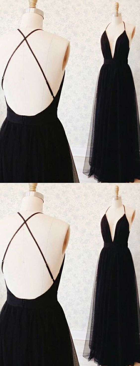 Long prom dresses black aline party dresses vneck tulle sexy