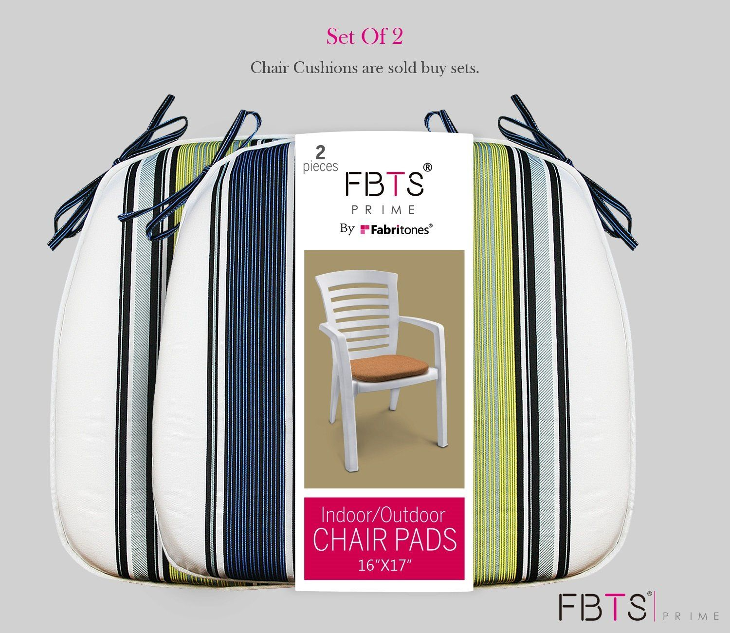 FBTS Prime Chair Cushion 7 x 7 Inches Indoor/Outdoor Seat Pads