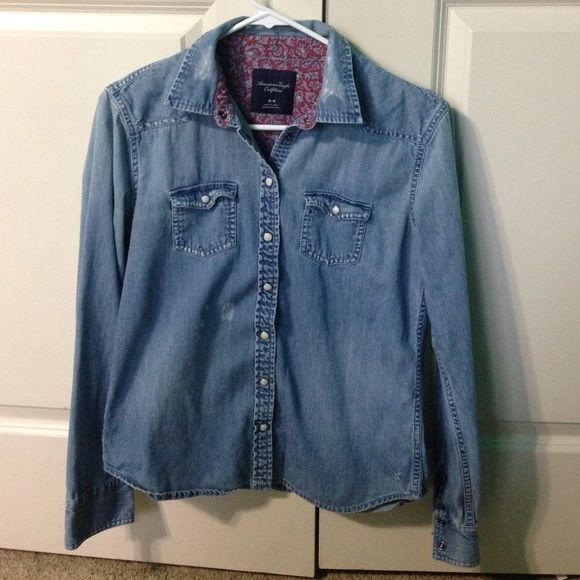 American Eagle Denim Shirt American Eagle Denim Shirt. Buttons snap together. Good condition. American Eagle Outfitters Tops Button Down Shirts