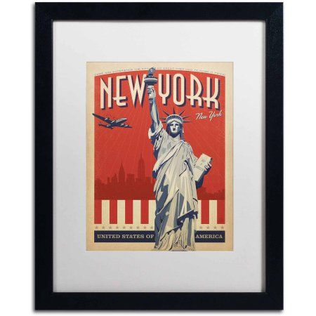 Trademark Fine Art New York, NY II Canvas Art by Anderson Design Group, White Matte, Black Frame, Size: 11 x 14
