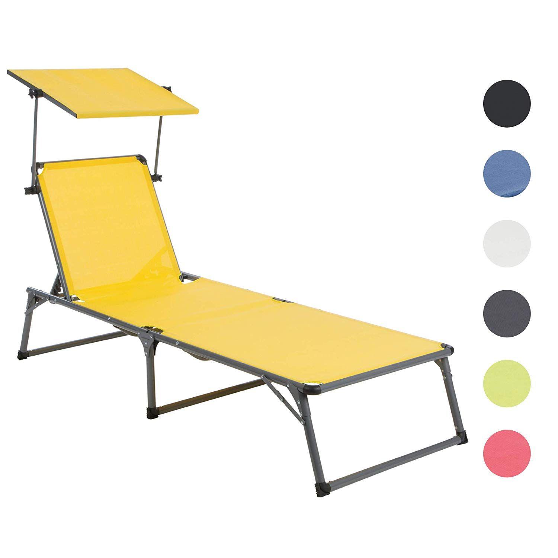 Amazon De Ultranatura Aluminium Sonnenliege Nizza Mit Dach Platzsparende Gartenliege Ideal Fur Garten Und Camping Faltbar V Sonnenliege Gartenliege Relaxen
