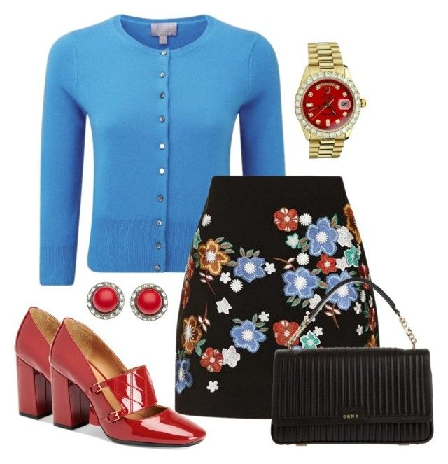 Dark floral by jaynebrowncreates on Polyvore featuring polyvore fashion style Topshop Calvin Klein DKNY Rolex clothing