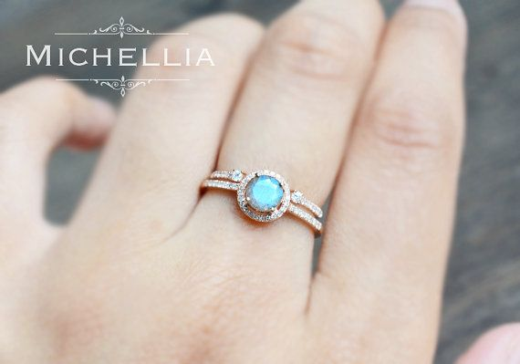 14K18K Labradorite Engagement Ring with Halo by MichelliaDesigns