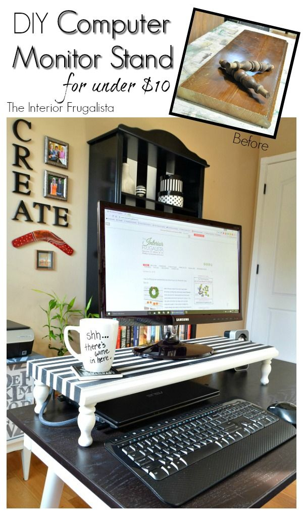 diy computer monitor stand your funky junk a repurposing community board pinterest buero. Black Bedroom Furniture Sets. Home Design Ideas