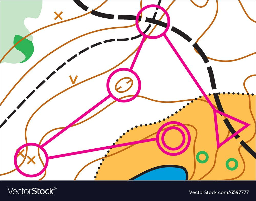 Simple topographic map for orienteering sport with