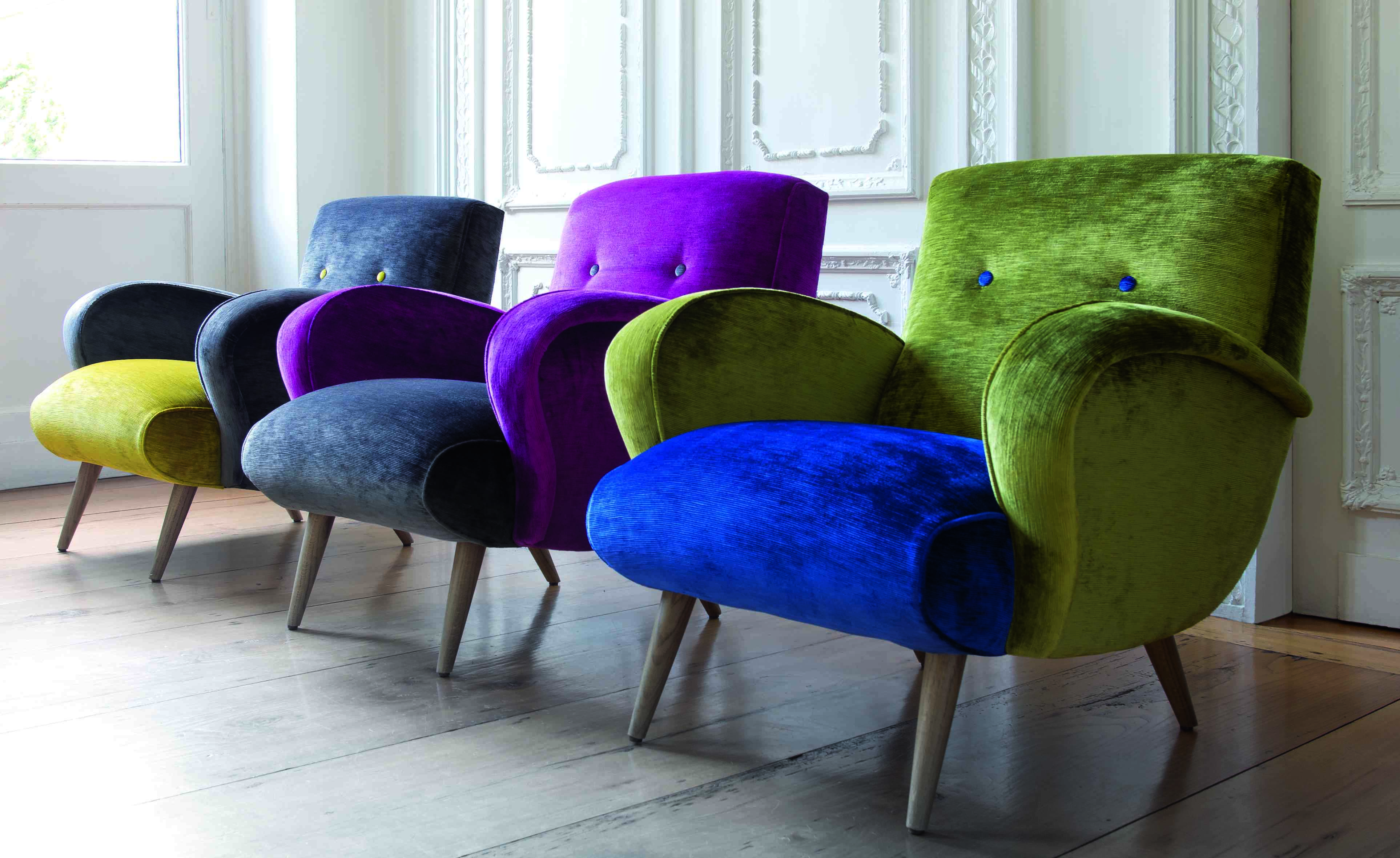 Velvet Armchair, Furniture Ideas, Casamance, Upholstery, Beautiful Sofas, Colorful Chairs,