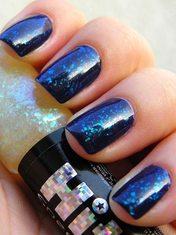 Hits Valsa flakie polish over Essie\'s No More Film. The blue and ...
