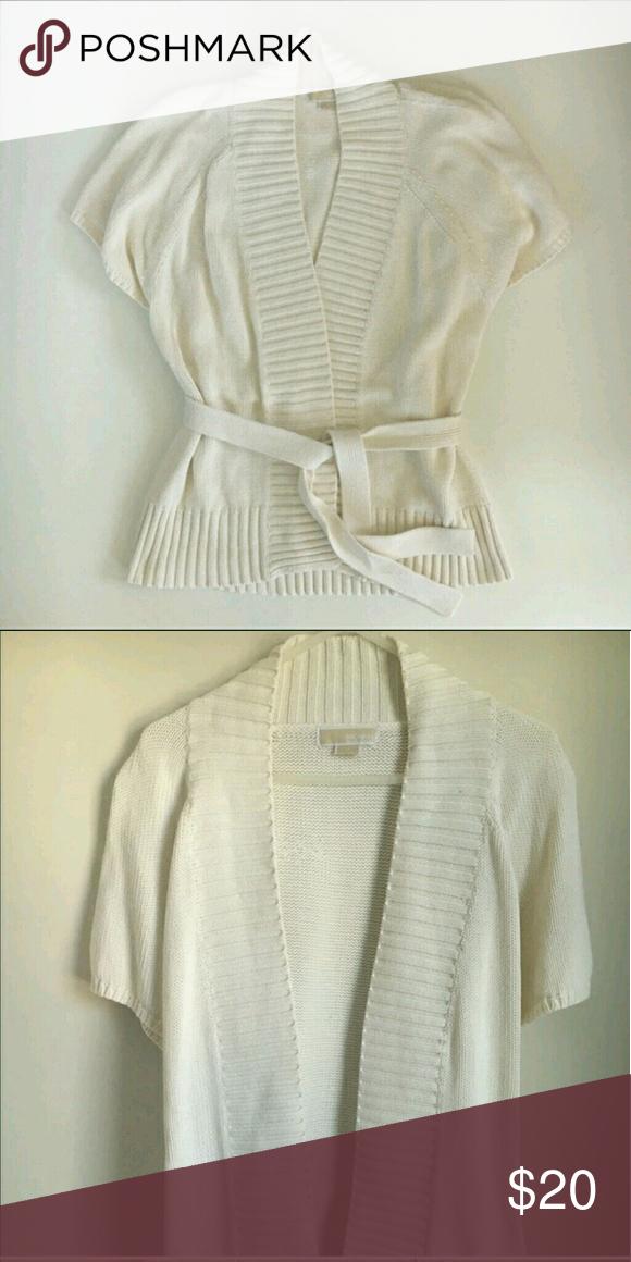 Michael Kors Cream Short Sleeve Belted Cardigan  L Michael Kors Cream Short Sleeve Belted oversized Cardigan  L Michael Kors Sweaters Cardigans