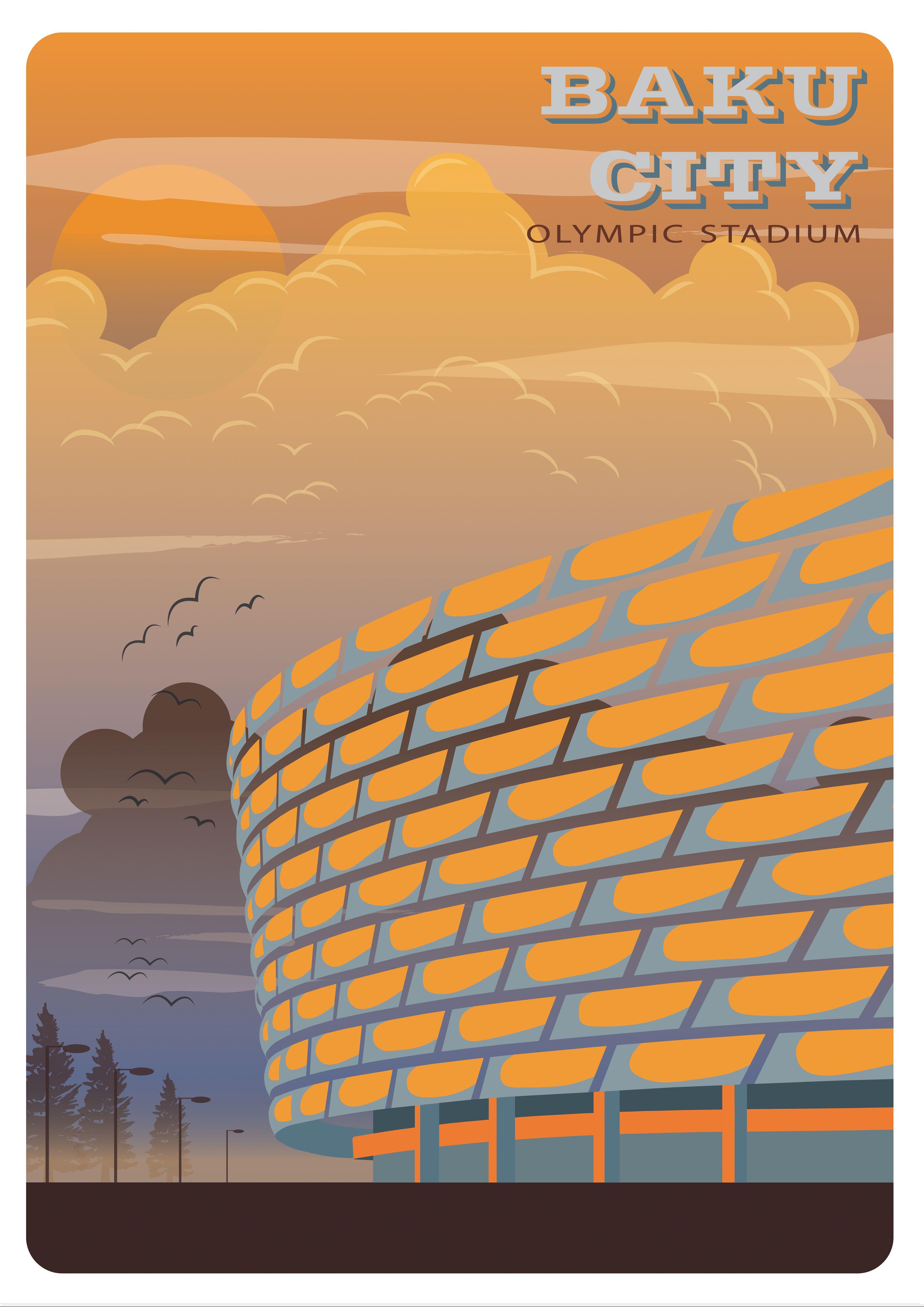 Baku City Retro Poster Olympic Stadium Retro Poster Baku City Retro Art Deco