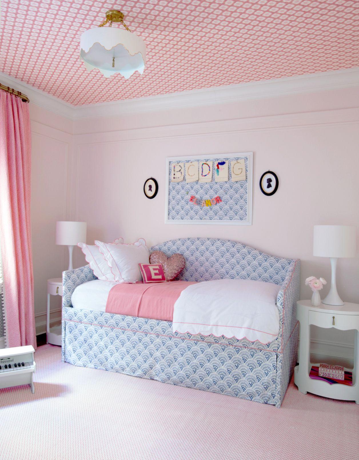 modern pink and blue little girls bedroom designedsara