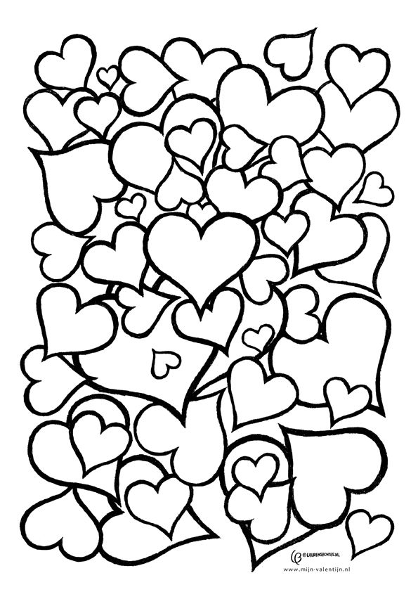 Hearts to color online or print out and color on paper! Free - copy coloring pages with hearts and flowers