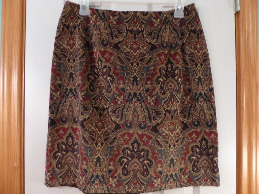 e6be74c404 Talbots Petites Velour Straight Pencil Skirt Size 10P Multi Color Paisley  Print #fashion #clothing