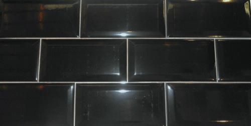 3 X 6 Beveled Subway Tile Bright Black Glossy U759 United States