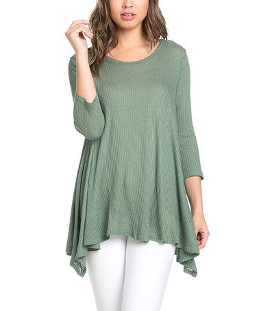 Olive Thermal Sidetail Tunic - Plus Too #zulily #zulilyfinds