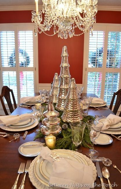 Christmas Tablescape with Mercury-glass Christmas Tree Centerpiece by chris